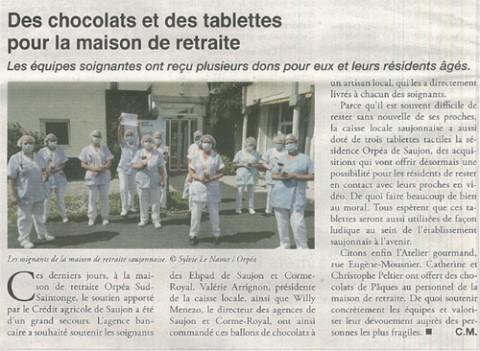 Orpea Sud saintonge dons chocolat tablettes