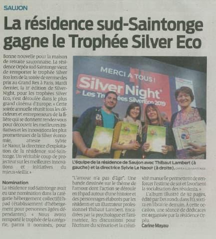 Orpea Sud Saintonge trophée silver eco